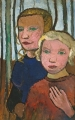 Modersohn-Becker, <i>Two Girls in Front of Birch Trees</i>, c. 1905.  <br/>Saint Louis Art Museum.
