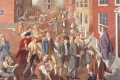 """Sidney Tillim, <i>John Adams Accepts the Retainer to Defend the British Soldiers Accused in the Boston Massacre</i>, 1974. Oil on canvas, 40"""" x 50"""". Estate of the artist."""